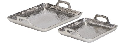 Sammsara Set Of 2 Hammered Decorative Square Tray Tray Set(2 Units) at flipkart