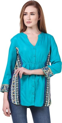 Zobia Women Printed, Embroidered Casual Blue Shirt
