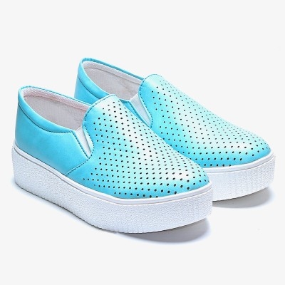 TEN Torquoise Blue Casual Shoes Slip On Sneakers For Women(Blue)