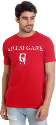 Hillisi Gare Printed Men Round Neck Red T-Shirt