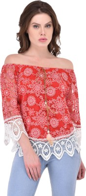 RITU DESIGNS Party 3/4th Sleeve Printed Women Red Top