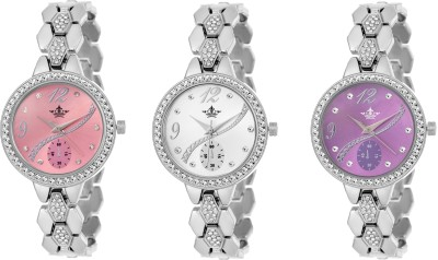 Swisso SWS-8041-Pnk-Slr-Prpl Ladies Special Exclusive Studded Notable Series Watch  - For Women