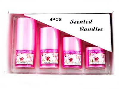 THE HOLY MART SCENTED ROSE CANDLES (SET OF 4) Candle(Pink, Pack of 4)