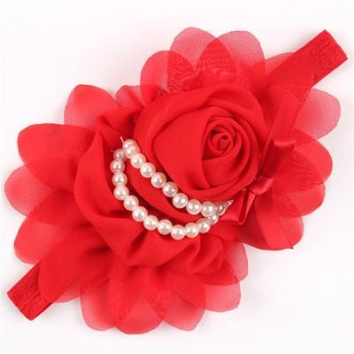 Ziory Red Crown hairband Headband baby Girls toddler girls Pearl Rose Flower Hair Band Chiffon Lace Headband Ribbon Elastic Hair Accessories Headwear Hair Clip, Head Band, Hair Band, Hair Chain(Red)