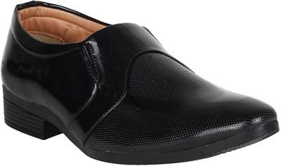 Vincenzo Men's Partywear Patent Leather Shoes Slip On For Men(Black)