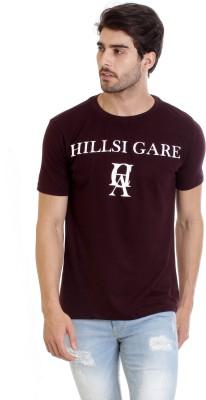 Hillisi Gare Printed Men Round Neck Maroon T-Shirt