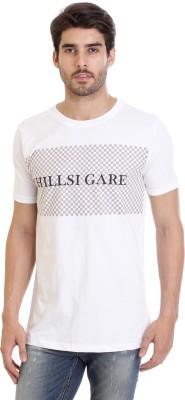 Hillisi Gare Printed Men Round Neck White T-Shirt