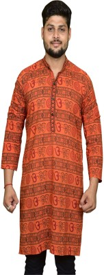 Pinkcity Style Printed Men's Flared Kurta(Orange) at flipkart