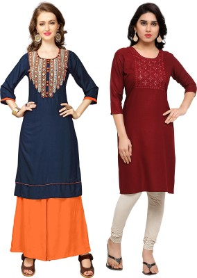 Vbuyz Festive & Party Embroidered Women Kurti(Pack of 2, Blue, Maroon)