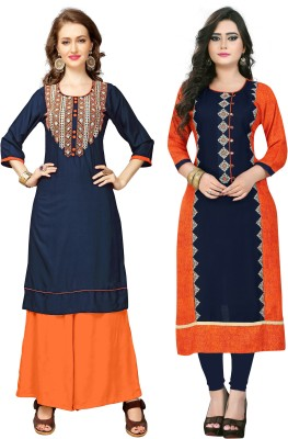Vbuyz Festive & Party Embroidered Women Kurti(Pack of 2, Blue, Multicolor)