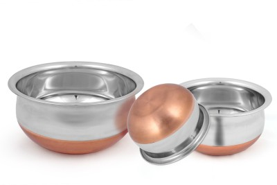 Kitchen Krafts COPPER BOTTOM SET OF 5 Handi 400 ml, 700 ml, 1000 ml,1500ml,2000ml  (Stainless Steel, Non-stick) Handi 0.4 L, 0.7 L, 1 L, 1.5 L, 2 L(Stainless Steel, Non-stick)  available at flipkart for Rs.554