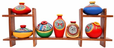 Indikala Wooden Stand with Seven Elegant Terracota Handpainted Pots Wooden, Earthenware Wall Shelf(Number of Shelves - 2, Multicolor)