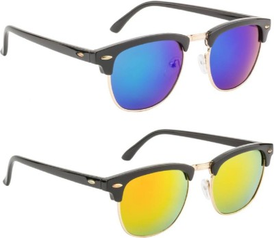 Poloport Clubmaster Sunglasses(Blue, Orange)