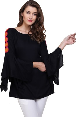 71d2c32a0e4f1 View KIEZ Casual Butterfly Sleeve Lace Women's Multicolor Top Price Online