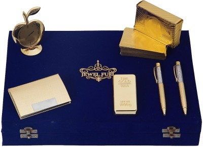 Jewel Fuel 2 Gold Plated Pen, Gold Bar Paper Weight, Apple Table Clock And Visiting Card Holder Showpiece Gift Set