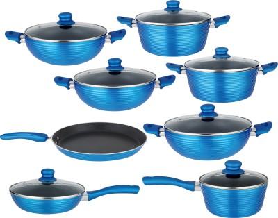 NIRLON Aluminium Non-Stick Cooking Items Induction Bottom Cookware Set(Aluminium, PTFE (Non-stick), 8 - Piece)