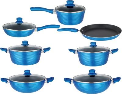 NIRLON PFOA Free Non-Stick Cooking Utensils Induction Bottom Cookware Set(Aluminium, PTFE (Non-stick), 7 - Piece)