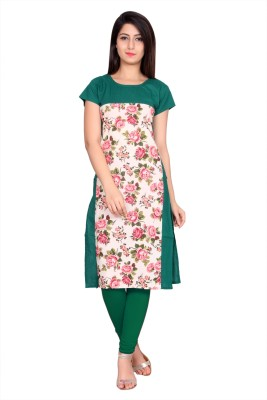 JT International Casual Printed Women Kurti(Green)