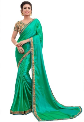 Bombey Velvat Fab Embroidered, Embellished Daily Wear Silk, Poly Silk Saree(Green)