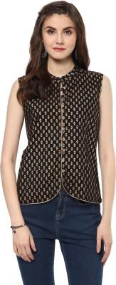 Krapal Party Sleeveless Printed Women Black Top