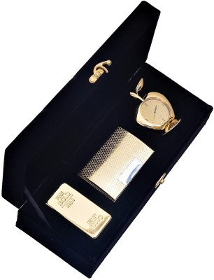 Jewel Fuel 24K Gold Plated Gold Bar Paper Weight, Visiting Card Holder And Apple Table Clock Showpiece Gift Set