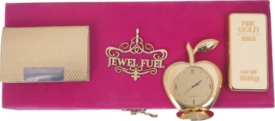 Jewel Fuel 24K Gold Plated Gold Bar Paper Weight, Visiting Card Holder And Apple Shape Table Clock Showpiece Gift Set