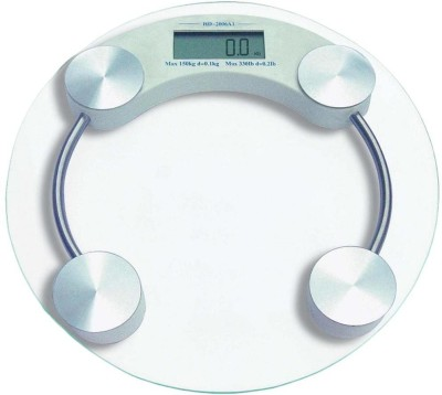 MAYUMI Thick Tempered GLASS DIGITAL ELECTRONIC PERSONAL SCALE -- Bathroom Health Body Weight Measure (Round) Weighing Scale(Transparent)