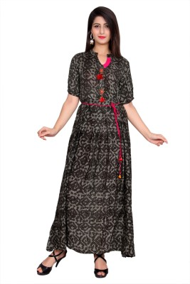 Metro Fashion Printed Women Flared Kurta(Dark Green)