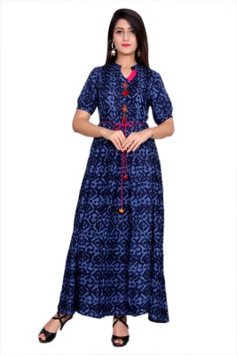 Metro Fashion Printed Women Flared Kurta(Dark Blue)