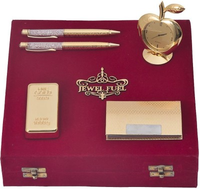 Jewel Fuel 24K Gold Playing Cards, Gold Bar Paper Weight, Visiting Card Holder, Apple Table Clock And 2 Gold Plated Pen Showpiece Gift Set