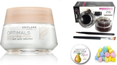 Oriflame Sweden Optimals Even Out Oriflame Day Cream Spf 20- 50 gm with Music Flower 2 in 1 Long Wear Gel Eyeliner (Black + Brown)(Set of 4)  available at flipkart for Rs.989