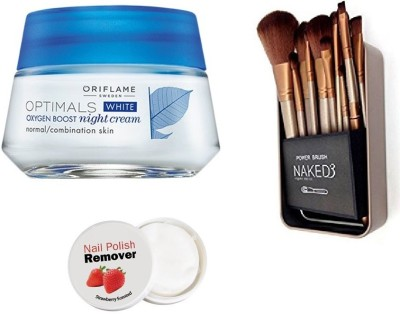 Oriflame Sweden Optimals White Oxygen Boost Night Cream Spf 15 Normal Combination Skin - 50 ml with Imported Makeup Brush Set (12 Pcs)(Set of 3)  available at flipkart for Rs.699