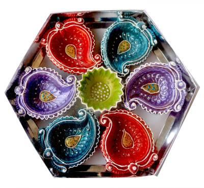 eCraftIndia Terracotta Table Diya Set