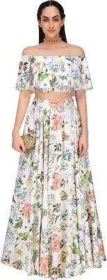 Zeel Clothing Applique, Embroidered, Floral Print Semi Stitched Lehenga, Choli and Dupatta Set(Beige)
