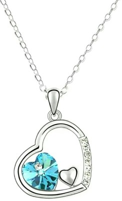 Vorra Fashion 925 Sterling Silver Round Cut Aquamarine Stone Heart Shape Pendant With Chain for women
