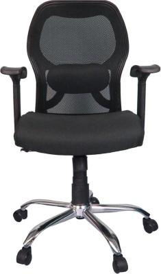 Rajpura Matrix Medium Back Revolving Chair with Centre Tilt mechanism in Black Fabric and mesh/net back Fabric Office Executive Chair(Black)