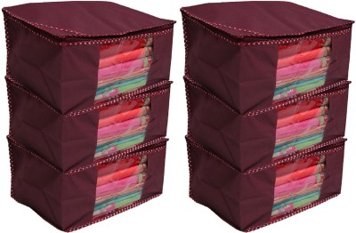 KUBER INDUSTRIES Designer Non woven Saree cover/ Saree Bag/ Storage bag Set of 6 Pcs 9 Inches Height COMBONWCMBB15 Maroon KUBER INDUSTRIES Garment Cov