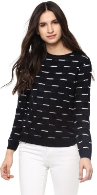People Solid Round Neck Casual Women Beige Sweater