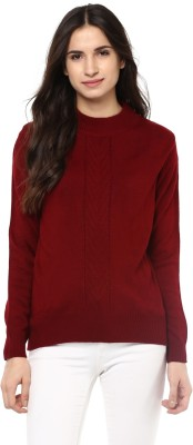 Marie Claire Solid Round Neck Casual Women Maroon Sweater