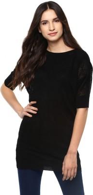 Puma Solid Casual Women Black Sweater