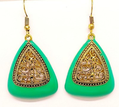 SHARYA Fashion Ethnic Hook Earrings with Cutwork design Alloy Drop Earring  available at flipkart for Rs.165