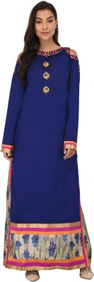 Svt Ada Collections Women Embroidered Straight Kurta(Dark Blue)
