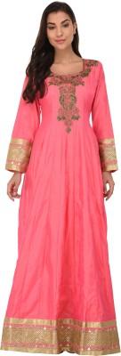 Svt Ada Collections Women Embroidered Straight Kurta(Pink)