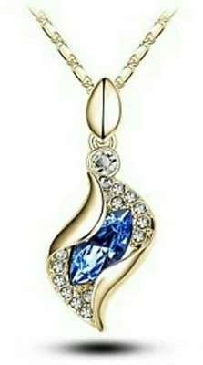 fashion9mart Fashion 9 18k yellow gold plated antique gold blue Pendant for girls Gold-plated Crystal Alloy Pendant