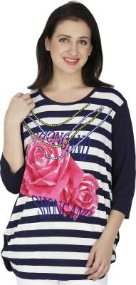 RITU DESIGNS Casual 3/4th Sleeve Floral Print Women Dark Blue Top