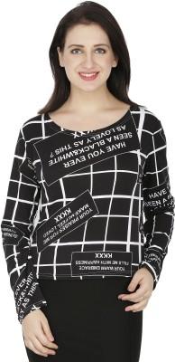 RITU DESIGNS Casual Full Sleeve Printed Women Black Top