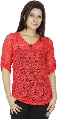 RITU DESIGNS Party 3/4th Sleeve Self Design Women Red Top