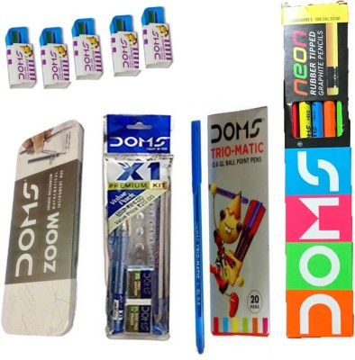 DOMS NEON RUBBER TIPPED PENCIL + X1 KIT + GEOMETRY BOX + EXTRA LONG PENCIL SHARPENERS + TRIO-MATIC BALL PEN Stationery Set(Pack of 5)  available at flipkart for Rs.379