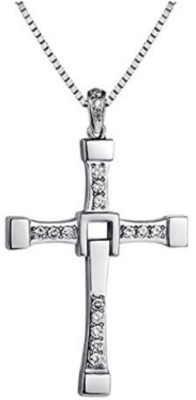 Caratcube Fast And Furious Vin Diesel Inspired Cross Shape White Gold Crystal Alloy Pendant