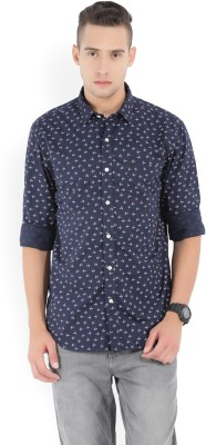 Izod Men's Printed Casual Dark Blue Shirt